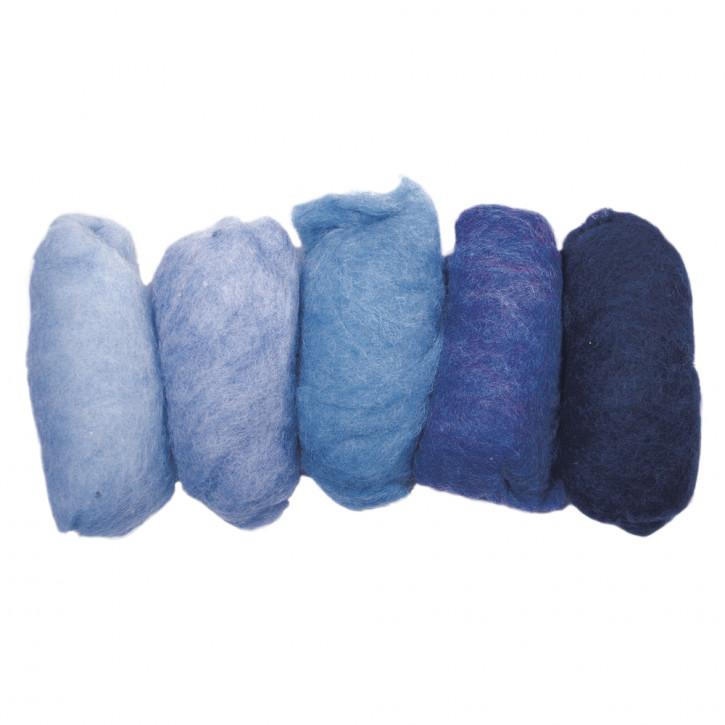Reine Schurwolle/Vlies,meliert 5 Farben à 20g, Blau-Töne