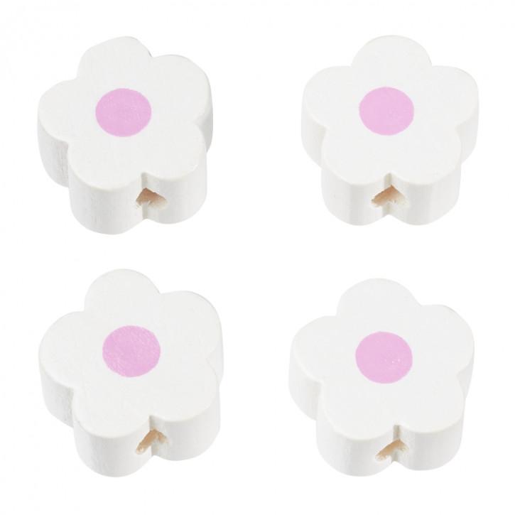 Schnulli-Blümchen, Weiß, 16X15,5X8mm, SB.Btl. 4 Stück