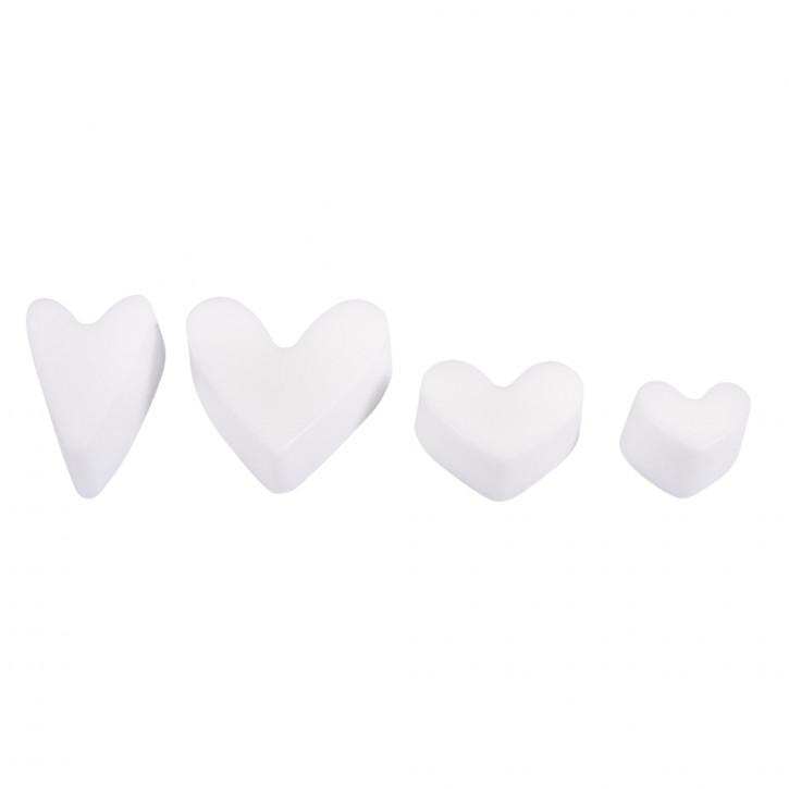 Seifengießform: Herzen Tiefe 3cm, 4 teilig