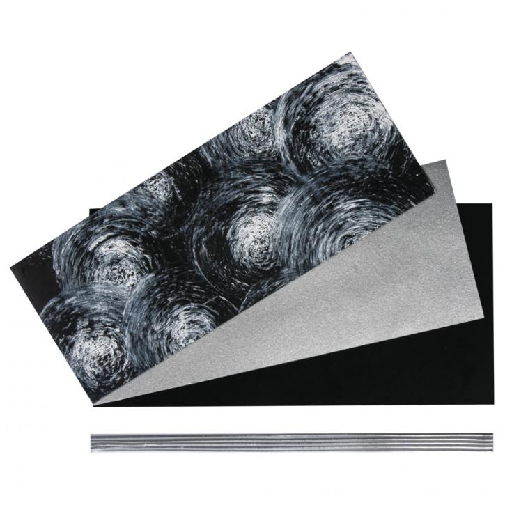 Set: Verzierwachs Trauer farblich sortiert, SB-Btl 1Set, schwarz/silber
