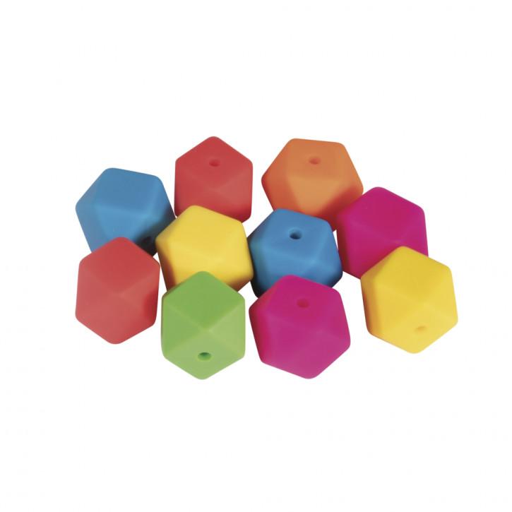 Silikonperlen Hexagon, 14mm ø SB-Btl 10Stück
