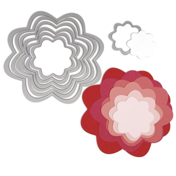Sizzix Framelits Schablonen-Set Blumen, SB-Blister 7Stück, 3,5x3,5cm, 10,8x10,8cm