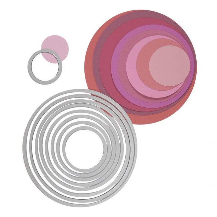 Sizzix Framelits Schablonen-Set Kreise, SB-Blister 8Stück, 2,9x2,9cm, 10,8x10,8cm