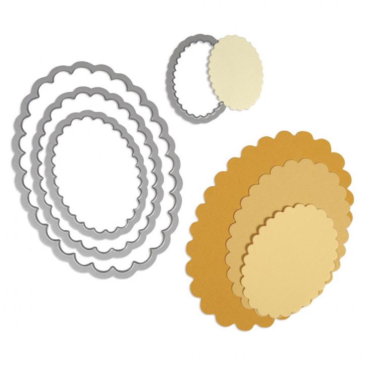 Sizzix Framelits Schablonen-Set Ovale m. Zierrand, SB-Blister 4Stück, 2,9x4,5cm, 7,9x11,4cm
