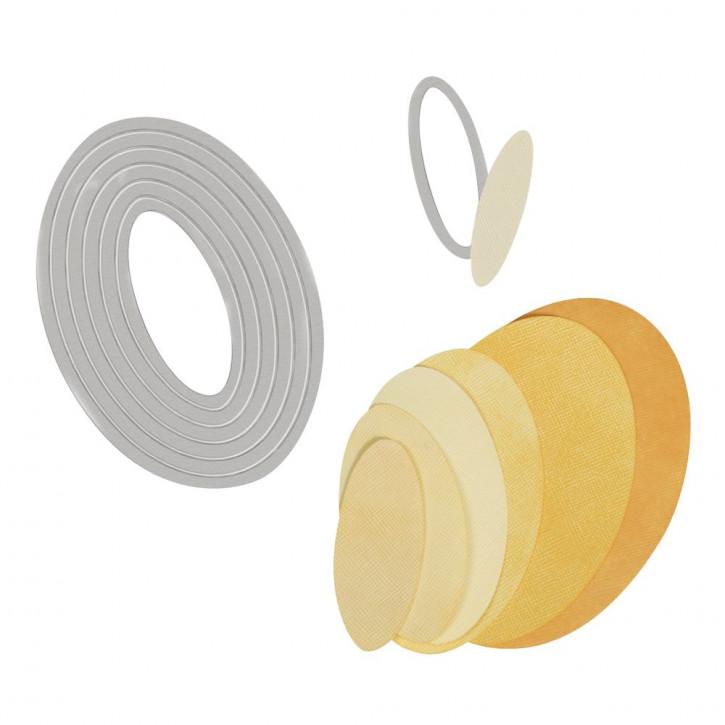 Sizzix Framelits Schablonen-Set Ovale, SB-Blister 7Stück, 1,6x5,4cm, 8,3x12,1cm