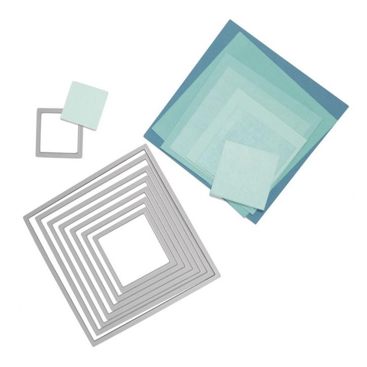 Sizzix Framelits Schablonen-Set Quadrate, SB-Blister 8Stück, 2,9x2,9cm, 10,8x10,8cm