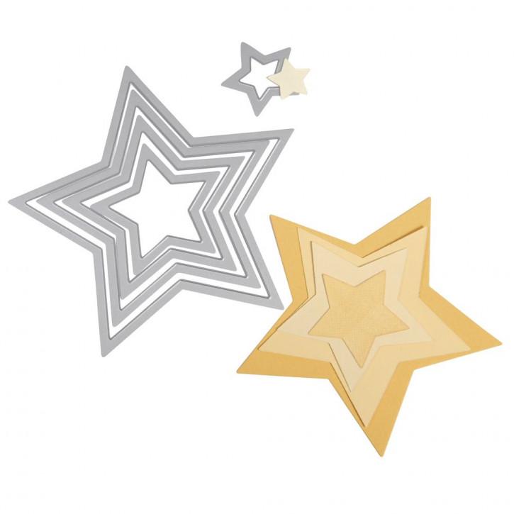 Sizzix Framelits Schablonen-Set Sterne, SB-Blister 5Stück, 1,9x1,9cm, 11,1x10,5cm