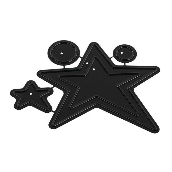 Stanzsch.Set(deep edge)Stars&Circles, 1-6,8 x 1-6cm, SB-Btl 4Stück