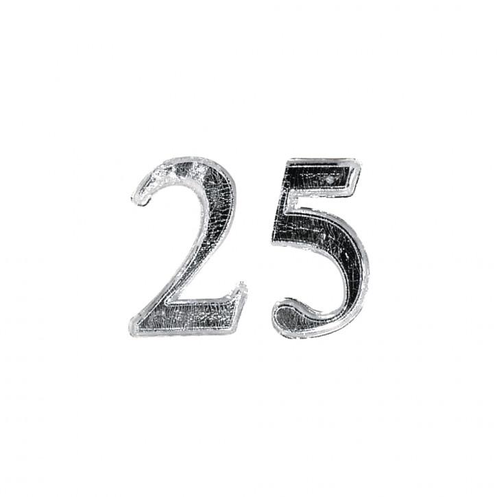 Wachs-Jubiläumszahl: 25 2,5cm, SB-Btl 1Stück, silber