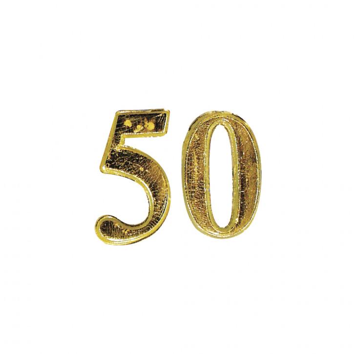 Wachs-Jubiläumszahl: 50 2,5cm, SB-Btl 1Stück, gold