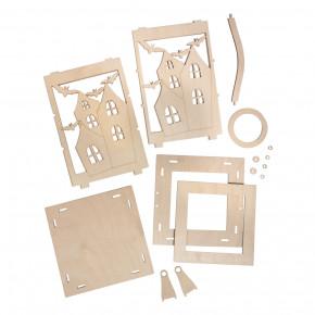 Holz Laterne Flederm. m.Griff,FSCMixCred 15,3x15,3x26,5cm, 15-tlg. , Box 1Set, natur